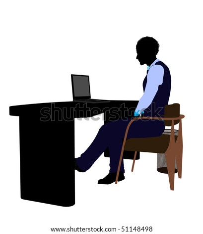 African american male business silhouette illustration on a white background