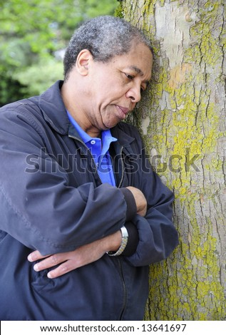 African american man in the woods. - stock photo
