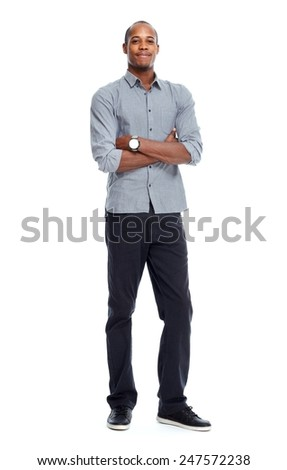 African-American man isolated on white background - stock photo