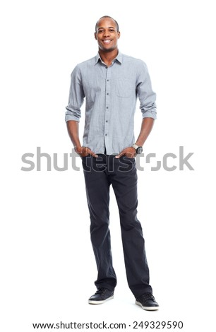 African-American man isolated on white background