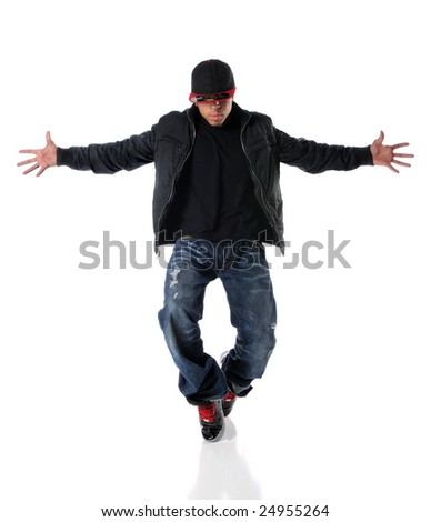 African American man performing hip hop style dancing - stock photo