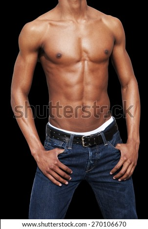 african american man with naked torso on black background without the head
