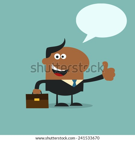 African American Manager Giving Feedback In Modern Flat Design Raster Illustration With Speech Bubble - stock photo