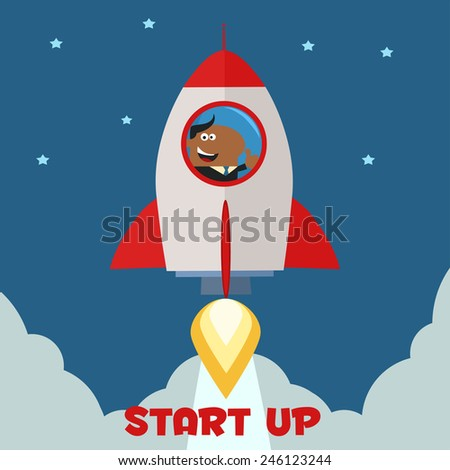 African American Manager Launching A Rocket To The Sky And Giving Thumb Up.Flat Style Raster Illustration With Text - stock photo
