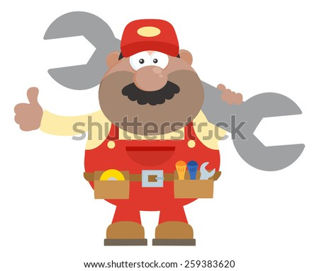 African American Mechanic Cartoon Character Holding Huge Wrench And Giving A Thumb Up Flat Syle. Raster Illustration Isolated On White - stock photo