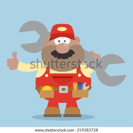 African American Mechanic Cartoon Character Holding Huge Wrench And Giving A Thumb Up Flat Syle. Raster Illustration - stock photo