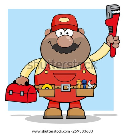 African American Mechanic Cartoon Character With Wrench And Tool Box. Raster Illustration With Background - stock photo