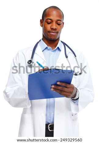 African-American Medical doctor writing prescription.