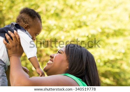 African American Mother and son - stock photo