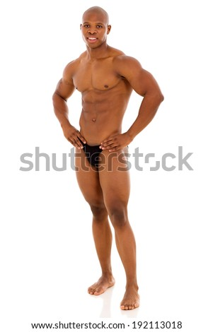 african american muscular man standing on white background - stock photo