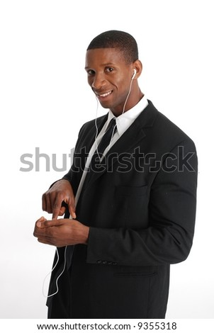 African American playing on a mp3 player