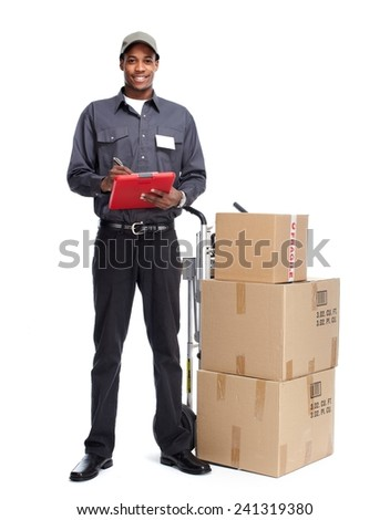 African-American postman isolated on white background - stock photo