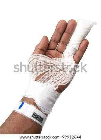 african american's hand showing a injured finger wrapped in a gauze bandage isolated on a white colored background - stock photo