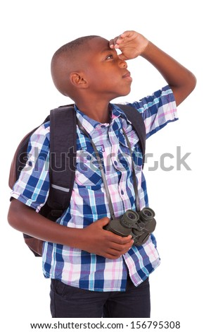 African American school boy holding binoculars, isolated on white background - Black people - stock photo