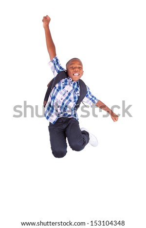 African American school boy jumping , isolated on white background - Black people - stock photo