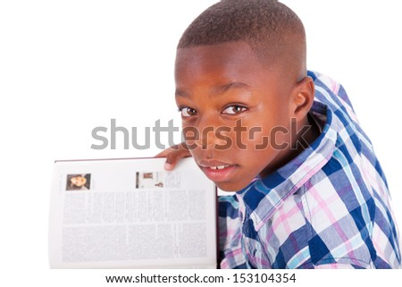 African American school boy reading a book, isolated on white background - Black people - stock photo