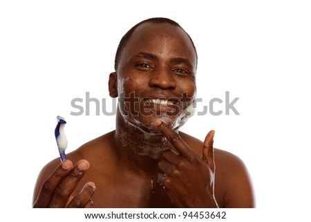 African american shaving, isolated on white background - stock photo