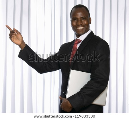 african american showing something, isolated on white - stock photo