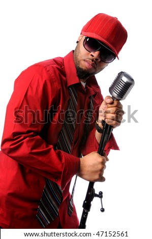 African American singer with vintage microphone - stock photo