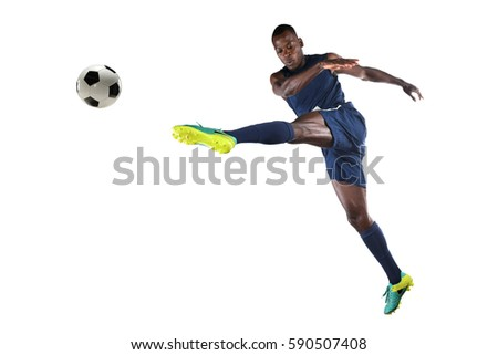African American soccer player kicking ball isolated over white background