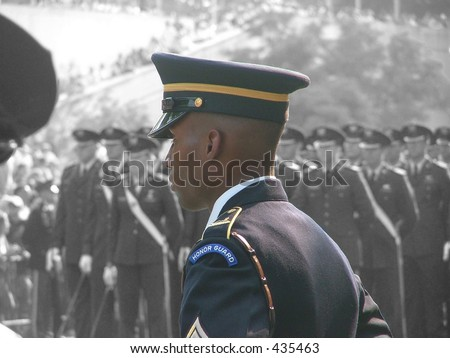 African American Soldier at attention - stock photo