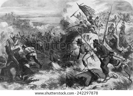 African American soldiers in a Civil War battle against their former masters, as imagined by artist Thomas Nast in March 1863. - stock photo