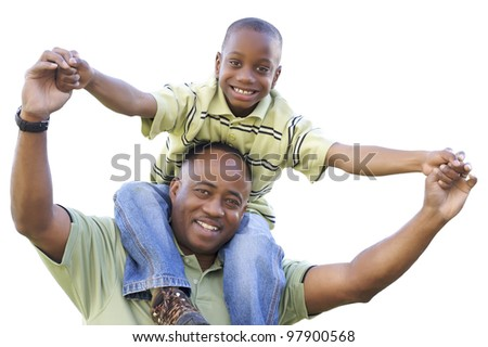 African American Son Rides Dad's Shoulders Isolated on a White Background.