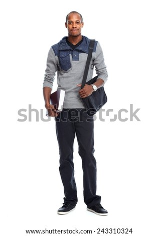 African-American student man with book isolated white  - stock photo
