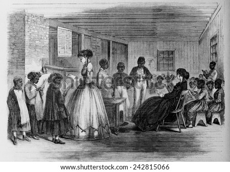 African american students freedmans bureau school stock illustration