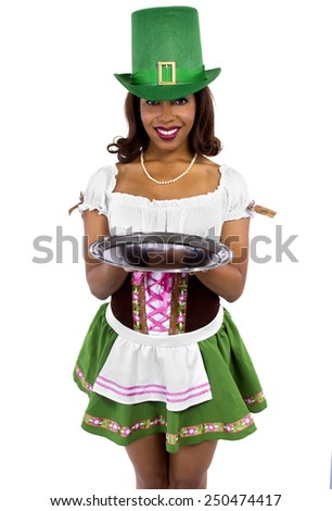 african american waitress dressed in st patricks day costume