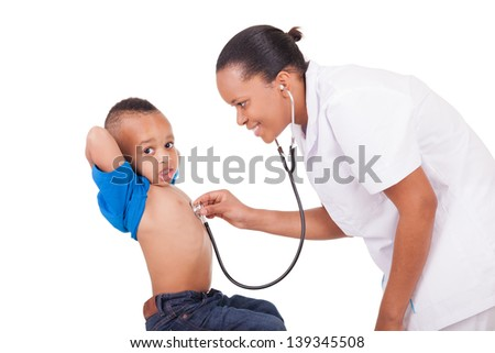African american woman doctor with child isolated