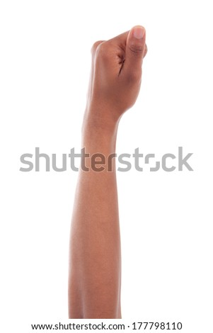 African american woman hand holding something, isolated on white background - Black people - stock photo
