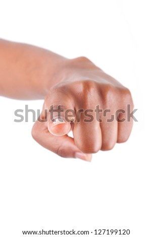 African American woman Hand pointing, isolated on white background - stock photo