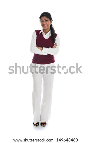 african american woman in casual and isolated on white, full body  - stock photo