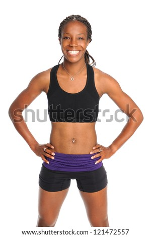 African American woman in exercise clothing isolated over white background