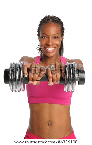 African American woman lifting dumbbell isolated over white background