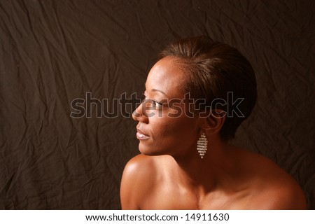 African american woman looking to the left - stock photo