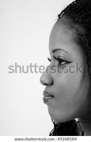 African American woman profile in black and white