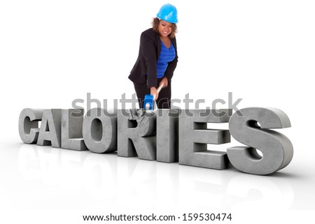 African American woman wearing a protection helmet braking a 3d calories text, isolated on white background  - Black people - stock photo