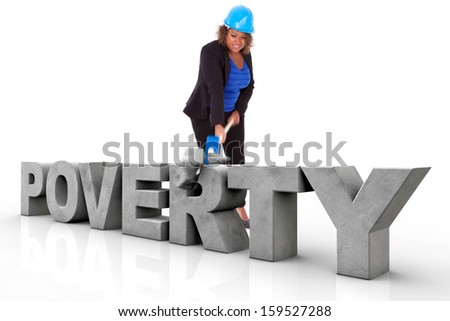 African American woman wearing a protection helmet braking a 3d poverty text, isolated on white background  - Black people - stock photo