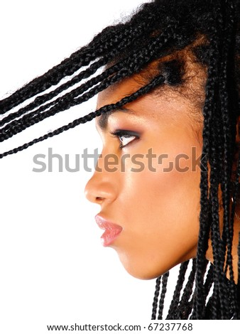 african american woman with braids on a white background - stock photo