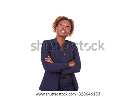 African American woman with folded arms looking up , isolated on white background - Black people