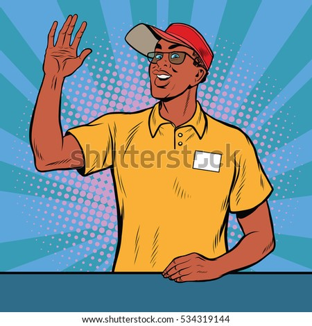African American worker fast food welcomed, pop art retro  illustration. A restaurant employee fast food. The seller is in uniform