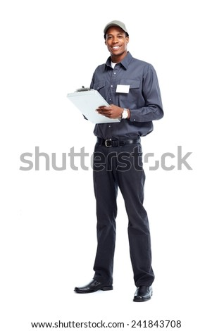 African American worker man isolated white background - stock photo