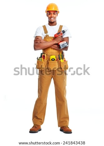 African American worker man isolated white background. Construction - stock photo