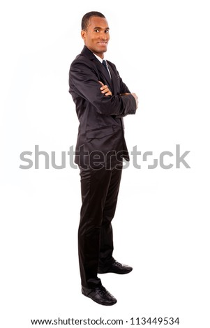 African american young business man full body, isolated on white - stock photo