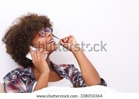 african american young girl on the phone - stock photo