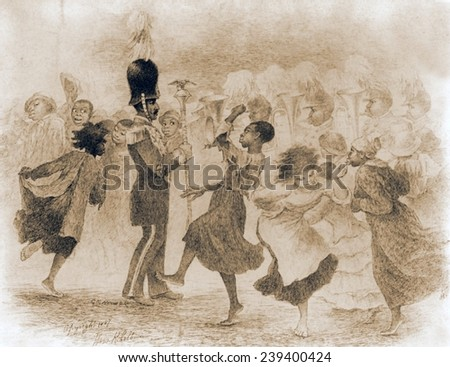 African Americans dancing in front of a uniformed band in Washington, D.C., Drawing by Mrs. Rollinson Colburn, 1887.
