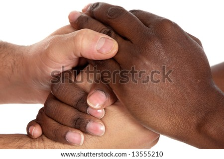 African and caucasian male shaking hands a over white background - stock photo