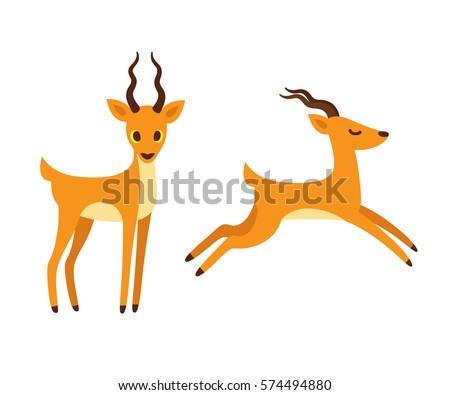 African Antelope Cartoon Drawing Standing Running Stock ...